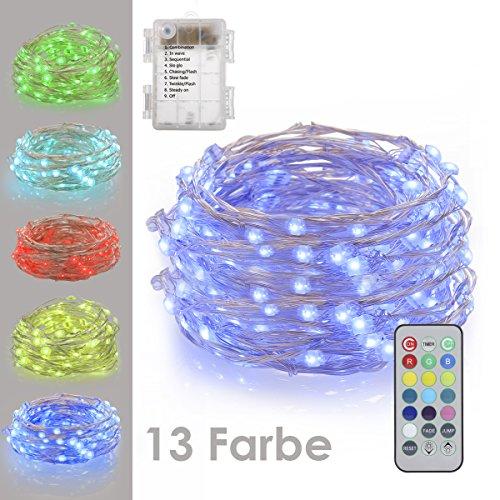 Gdealer 10m 100er led bunte lichterkette 8 modi - Led lichterkette bunt mit fernbedienung ...