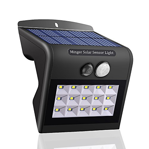 minger solar led wandleuchten 15 led weitwinkel ip65 solarleuchte mit bewegungsmelder au en. Black Bedroom Furniture Sets. Home Design Ideas