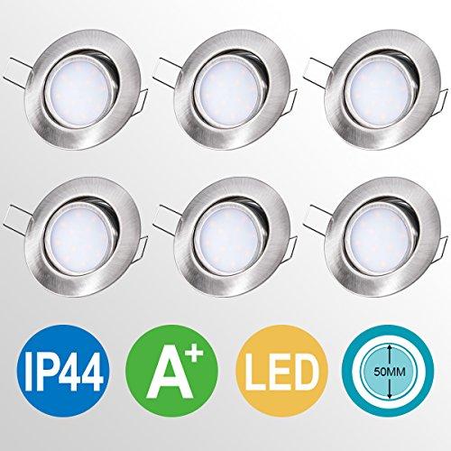 LED Badeinbaustrahler,BESTVA 6 X 6W 230V IP44 Einbauleuchte 6 X 500lm LED  Deckenstrahler Für Badezimmer,Küchen,WohnzimmerEnergieklasse A+ 6 Stücke