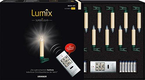 lumix superlight kabellose led christbaumkerzen f r innen und au en basis set mit 10 kerzen. Black Bedroom Furniture Sets. Home Design Ideas