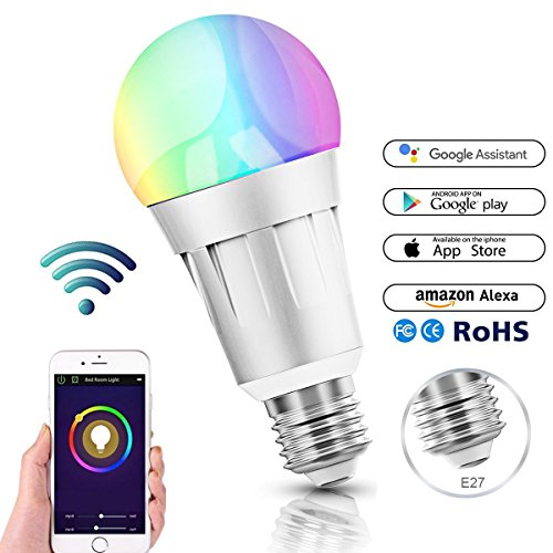 smart alexa lampen wifi led alexa gl hbirne rgb dimmbar hue color ambiance e27 smart birne. Black Bedroom Furniture Sets. Home Design Ideas
