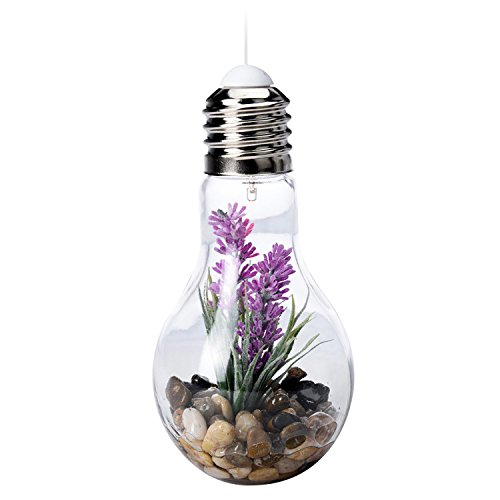 led gl hlampe deko lampe glas mit kunstpflanze zum aufstellen oder h ngen kabellos 9 cm h 18 5. Black Bedroom Furniture Sets. Home Design Ideas