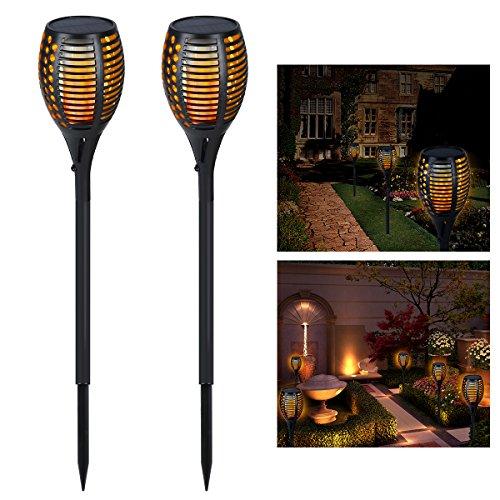 Solarleuchten garten zeonetak tanzen flamme beleuchtung 96 led flickering tiki fackeln - Aussenschalter gartenbeleuchtung ...