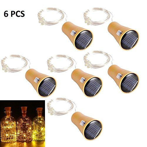 ALED LIGHT 6 Pack LED Solar Wein Flasche Lichter 1 Meter 10 Lichter Cork  Shaped Light Kupferdraht Starry String Lights Für Flasche DIY / Hochzeit ...