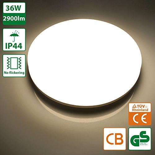 Oeegoo 36W IP44 LED Deckenleuchte Badlampe 2900 Lumens  Ersetzt 200 Watt  Glühbirne Deckenlampe Kein Lärm/Flimmern Für Wohnzimmer Bad FLur Büro Küche  Lager ...