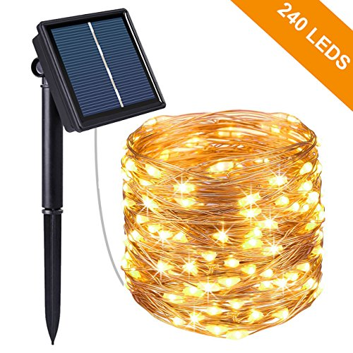 solar lichterkette aussen kolpop 24m 240 led au en wasserdicht kupferdraht lichterketten f r. Black Bedroom Furniture Sets. Home Design Ideas