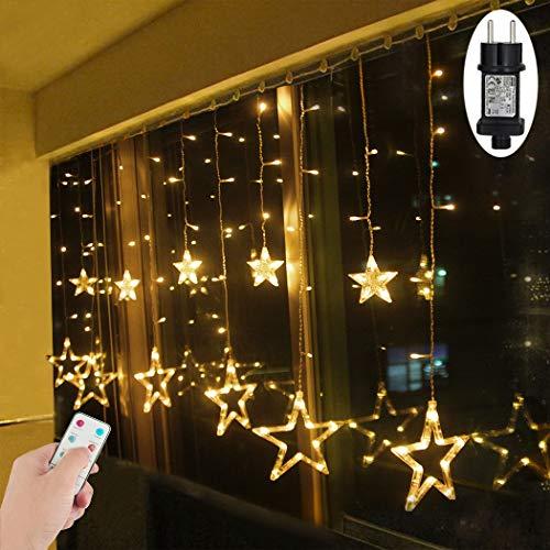 led lichtervorhang sterne warmwei mit fernbedienung. Black Bedroom Furniture Sets. Home Design Ideas