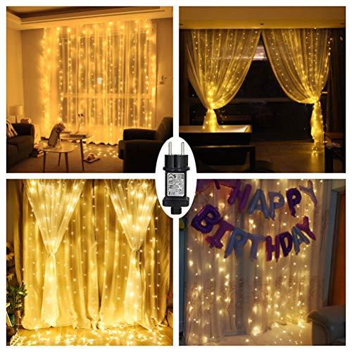 led lichtervorhang warmwei f r innen au en fenster weihanchten geburtstag party hochzeit ip44. Black Bedroom Furniture Sets. Home Design Ideas