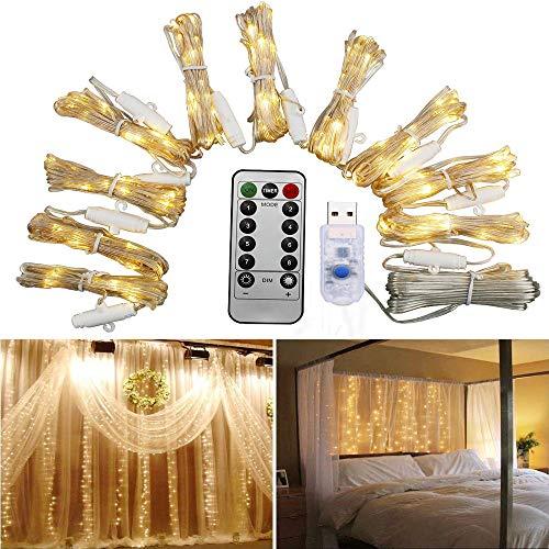 led lichterkettenvorhang mit fernbedienung usb stecker. Black Bedroom Furniture Sets. Home Design Ideas