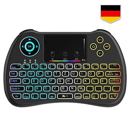 a22acf9ecd6 Tecboss Deutsches Layout Mini Tastatur Wireless, Mini Tastatur Kabellos mit  Touchpad, Mini Tastatur Beleuchtet für Smart TV Fernbedienung, HTPC, IPTV,  ...