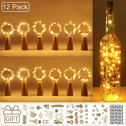 12 Stück Flaschenlicht Batterie, kolpop 2m 20 LED Glas Korken Licht Kupferdraht Lichterkette für