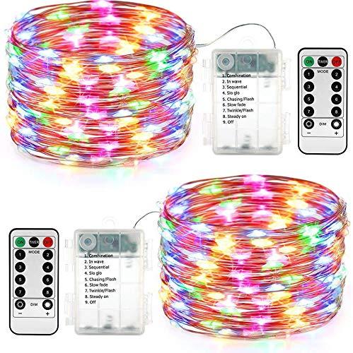 qedertek lichterkette au en batterie 2 st ck 100 led lichterkette wasserdicht 10m lichterkette